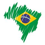 map flag Brazil (vector) Royalty Free Stock Images