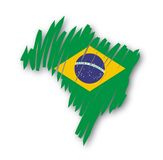 Map flag Brazil (vector) Royalty Free Stock Photography