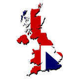 Map flag of Britain Royalty Free Stock Photos