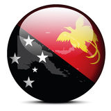 Map on flag button of Independent State Papua New Guinea Stock Photos