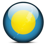 Map on flag button of Republic  Palau Stock Images