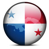 Map on flag button of Republic  Panama Royalty Free Stock Photography
