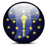 Map on flag button of USA Indiana State Stock Image