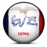 Map on flag button of USA Iowa State Royalty Free Stock Photo