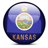 Map on flag button of USA Kansas State Royalty Free Stock Photography