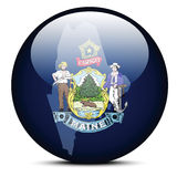 Map on flag button of USA Maine State Royalty Free Stock Photography