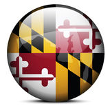 Map on flag button of USA Maryland State Royalty Free Stock Image