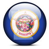 Map on flag button of USA Minnesota State Royalty Free Stock Image
