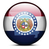 Map on flag button of USA Missouri State Royalty Free Stock Photo