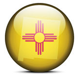 Map on flag button of USA New mexico State Stock Images