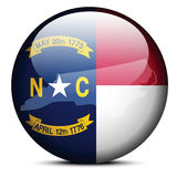 Map on flag button of USA North Carolina State Royalty Free Stock Photo