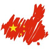 map flag China (vector) royalty free illustration