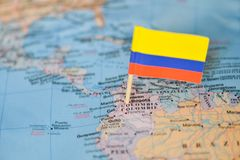 Map with flag of Colombia. The Map with flag of Colombia royalty free stock photography