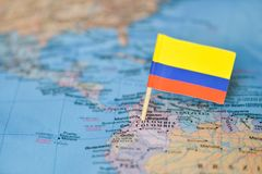 Map with flag of Colombia. The Map with flag of Colombia royalty free stock image