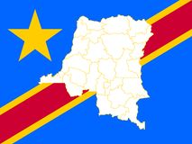 Map and flag of Democratic Republic of the Congo. Vector illustration. World map Stock Photo