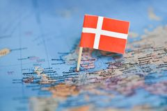 Map with flag of Denmark stock image