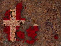 Map and flag of Denmark on rusty metal. Colorful and crisp image of Denmark on rusty metal Royalty Free Stock Images