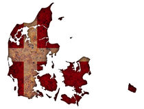 Map and flag of Denmark on weathered wood. Colorful and crisp image of Denmark on weathered wood Royalty Free Stock Photography