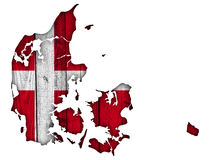 Map and flag of Denmark on weathered wood. Colorful and crisp image of Map and flag of Denmark on weathered wood Stock Image