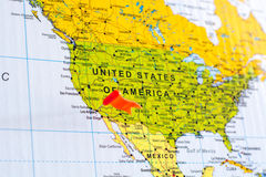 Map with flag on it, destination is Los Angeles Stock Photo