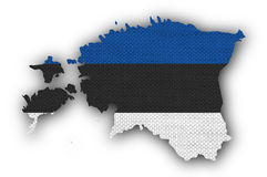 Map and flag of Estonia on old linen Royalty Free Stock Images