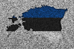 Map and flag of Estonia on poppy seeds Stock Image