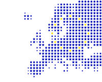 Map and flag of Europe Stock Images