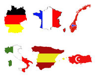Map and flag of european countries Royalty Free Stock Image