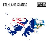 Map with flag. Falkland island map border with flag vector EPS10 Royalty Free Stock Photography