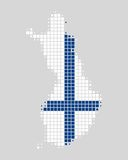 Map and flag of Finland. In squares Royalty Free Stock Photos