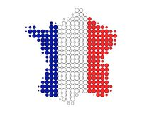 Map and flag of France. In rounded dots Royalty Free Illustration