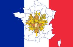 Map and flag of France stock illustration