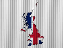 Map and flag of Great Britain on corrugated iron,. Colorful and crisp image of map and flag of Great Britain on corrugated iron Stock Photography