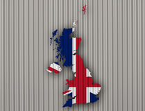 Map and flag of Great Britain on corrugated iron,. Colorful and crisp image of map and flag of Great Britain on corrugated iron Royalty Free Stock Photography