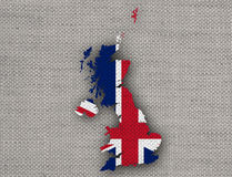 Map and flag of Great Britain on linen,. Colorful and crisp image of map and flag of Great Britain on linen Stock Photo