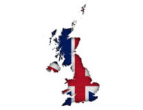 Map and flag of Great Britain on linen,. Colorful and crisp image of map and flag of Great Britain on linen Royalty Free Stock Photos