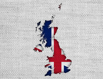 Map and flag of Great Britain on linen,. Colorful and crisp image of map and flag of Great Britain on linen Stock Image
