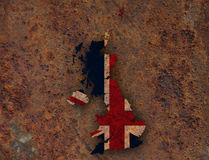 Map and flag of Great Britain on rusty metal,. Colorful and crisp image of map and flag of Great Britain on rusty metal Stock Photos