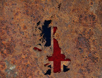 Map and flag of Great Britain on rusty metal,. Colorful and crisp image of map and flag of Great Britain on rusty metal Royalty Free Stock Photo