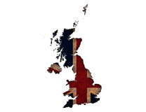 Map and flag of Great Britain on rusty metal,. Colorful and crisp image of map and flag of Great Britain on rusty metal Royalty Free Stock Photos