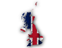 Map and flag of Great Britain on wood,. Colorful and crisp image of map and flag of Great Britain on wood Stock Photography