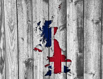 Map and flag of Great Britain on wood,. Colorful and crisp image of map and flag of Great Britain on wood Stock Images