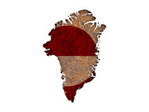Map and flag of Greenland on rusty metal Royalty Free Stock Photography