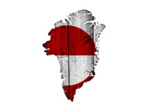 Map and flag of Greenland on weathered wood Stock Image