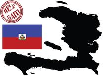 Map and flag of haiti Royalty Free Stock Photography