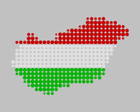 Map and flag of Hungary. On gray Royalty Free Stock Images