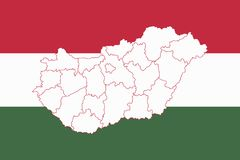 Map and flag of Hungary Stock Photo