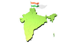Map and flag of India Royalty Free Stock Photography