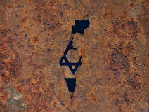 Map and flag of Israel on rusty metal Royalty Free Stock Photography