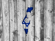 Map and flag of Israel on weathered wood Royalty Free Stock Photo